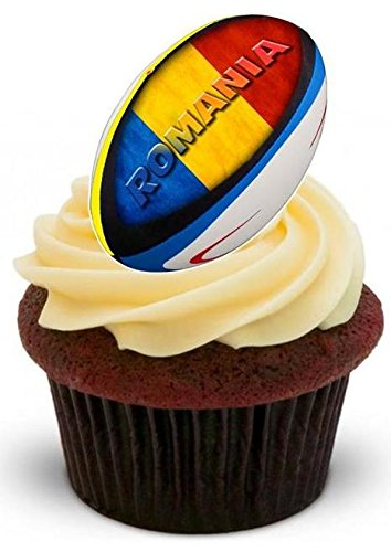 Rugbyball Rumänien - 12 essbare hochwertige stehende Waffeln Karte Kuchen Toppers Dekorationen, Rugby Ball Romania - 12 Edible Stand Up Premium Wafer Card Cake Toppers Decorations
