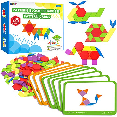 300 PCS Wooden Pattern Blocks Set for Kids with 24 Double-Sided Design Cards(48 Patterns) and Storage Bag in Gift Box,Fun Montessori Learning Toys