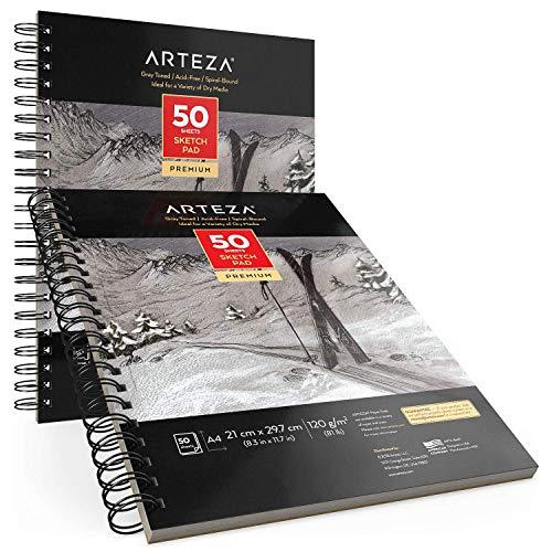 Arteza Skizzenblock A4, 21 x 29,7cm, Zeichenblock 2er-Set mit Jeweils 50 Blättern, 120 g/m² schweres Papier, Malblock mit Spiralbindung, Graues Zeichenpapier, für viele trockene Medien