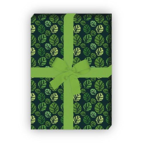Kartenkaufrausch Designer Geschenkpapier Set, Dekorpapier, Musterpapier zum Einpacken im Batik Blättern, grün, für tolle Geschenk Verpackung, Designpapier, scrapbooking, 4 Bogen, 32 x 48cm