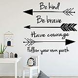 YMSHD Adhesivo de Pared Cita Be Kind Be Brave, Vinilo, para salón, Dormitorio, 58 X 60 cm