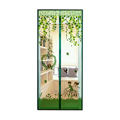 AIU Insektenschutz Sommer Moskitonetz Fliegengitter Magnetvorhang Fliegenvorhang (100 x 210cm, grün)