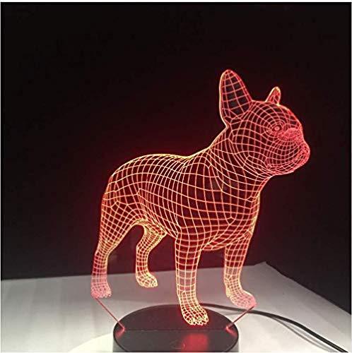 Vision Lindo Bulldog francés 3D lámpara de mesa led luz de noche 7 colores cambio para los regalos de los niños toque de los niños de la mesilla de noche luz de sueño 3D
