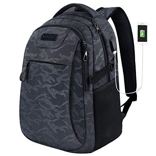KROSER Laptop Rucksack 15,6 Zoll Schulrucksack Reise Daypack Wasserabweisende Laptoptasche mit USB-Ladeanschluss für Reisen/Business/College/Frauen/Männer Tarnen Grau MEHRWEG