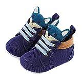 LACOFIA Zapatos Primeros Pasos niños Zapatillas de Cordones con Suela Suave Antideslizante para bebé niños Azul 12-18 Meses