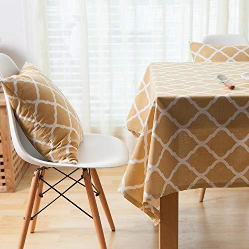 PhantasyIsland.com Mantel Rectangular de Lino y algodón, Resistente a la Suciedad, a Rayas, para decoración de Mesa de Comedor o Cocina, 140 * 220cm