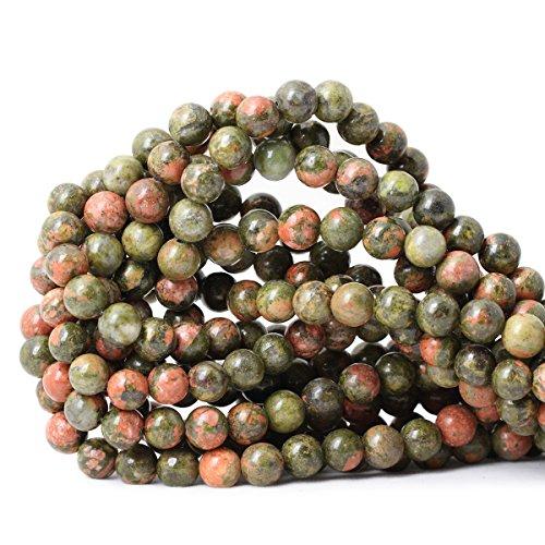 CHEAVIAN 45PCS 8mm Natural Unakite Gemstone Round Loose Beads for Jewelry Making DIY Handmade 1 Strand 15