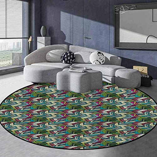 Abstract Polyester Area Rug Comic Magic Stair Rugs Exotic Feather Pattern 4'6' in Diameter