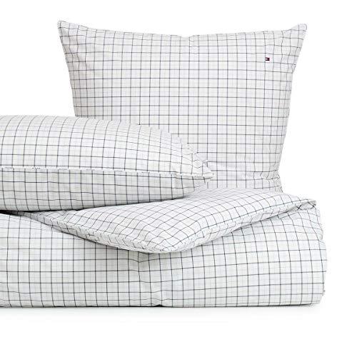 Tommy Hilfiger Ropa de cama Organic Checks Blue 1 funda nórdica de 135 x 200 cm y 1 funda de almohada de 80 x 80 cm