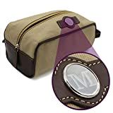 Personalized Toiletry Dopp Shaving Bag Case - Mens Leather Travel Kit - Custom Monogrammed (Tan Canvas and Leather)