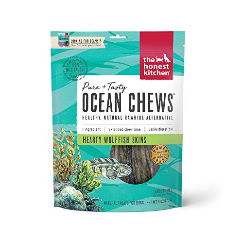 The Honest Kitchen Wolffish Ocean Chews Grain Free Dog Chew Treats – Natural Human Grade Dehydrated Fish Skins 6 oz
