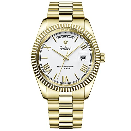 CADISEN Reloj automático para hombre, mecanismo automático, cristal de zafiro y correa de acero inoxidable, Fideos dorados y blancos,