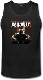 男性 プライベートカスタム コール オブ デューティ ブラックオプス ランニング シャツ 100%棉 Black