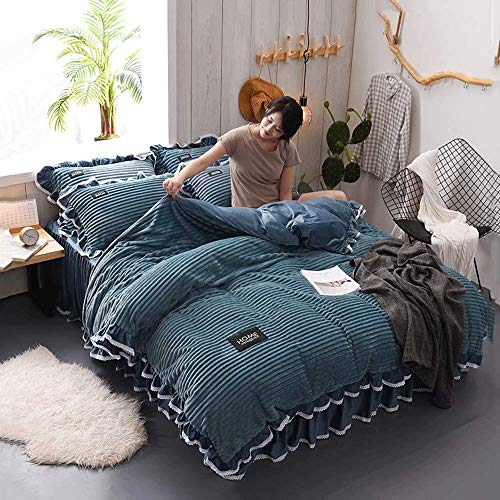 ZHAS Bettwäschesatz, Bettbezüge, Kissenbezug aus doppelter Mikrofaser, Bettlaken warm gepolsterter Flanellrock, vierteilig (Bettbezug 200 * 230 cm, Bettlaken 230 * 250 cm), Blau