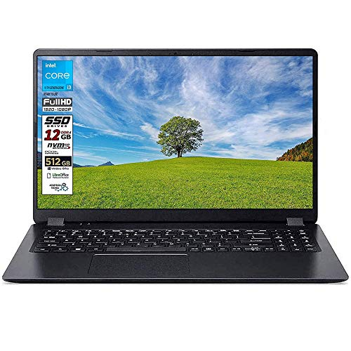 Notebook SSD slim Acer Intel i3 10 th, RAM 12 GB, SSD 512GB m2, display 15.6 Full hd led, Svga Intel HD 600, 3 USB, Wi-Fi, hdmi, BT, Win 10 Pro, Libre Office, Pronto all'Uso, Garanzia Italia