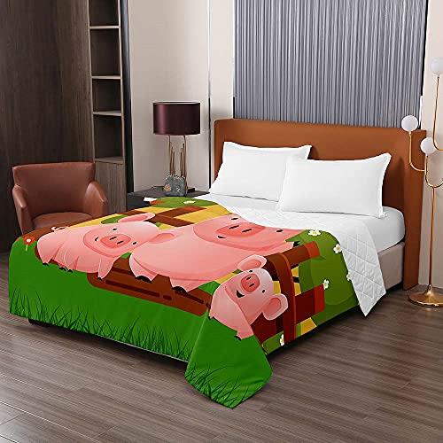 Colcha de Verano Cubrecama Colcha Bouti, Chickwin 3D Impresión de Cerdo Edredón Manta de Dormitorio Primavera Ligero Colchas para Cama Individual Matrimonio (Cerdo Verde,200x230cm)