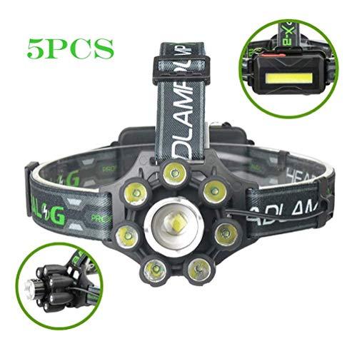 SPTIDY Lampe Frontale LED, Lampe-Torche LED À Charges Multiples avec Recharge USB Zoom Veilleuse Portable COB Télescopique pour Mini-Lampe De Poche Extérieure,5pcs