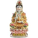 J.Mmiyi Guan Yin Estatua Estatua Budas Decorativos Figura, Quan Yin Avalokiteshvara Kuan Yin Escultura sobre Loto, Cerámica Adornos,A