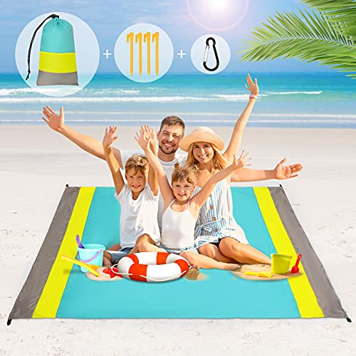 Alfombra de Playa Esterilla Toalla, SGODDE 210x200cm Manta Picnic Impermeable Grande, 210T Manta de Playa de Poliéster Antiarena Impermeable con 4 Estaca Fijos,para Playa,Camping,Picnic,Piscina