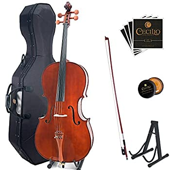 Cecilio CCO-300 Solid Wood Cello with Hard & Soft Case Stand Bow Rosin Bridge and Extra Set of Strings Size 4/4  Full Size