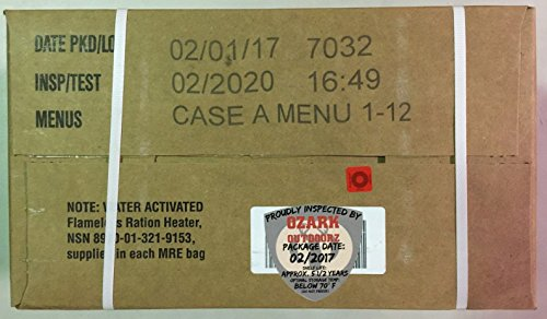 MRE 2020 Inspection Date Case, 12 Meals with 2020 Inspection Date, 2017 Pack Date A Case . Military Surplus Meal Ready to Eat.