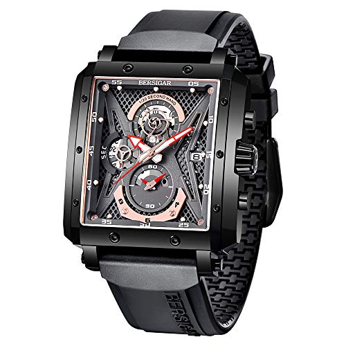 Elegante Reloj de Pulsera para Hombres BERSIGAR Relojes para Hombre Reloj Rectangular Relojes con Correa de Silicona Zafiro Cristal Movimiento de Cuarzo Impermeable Analógico Negocio