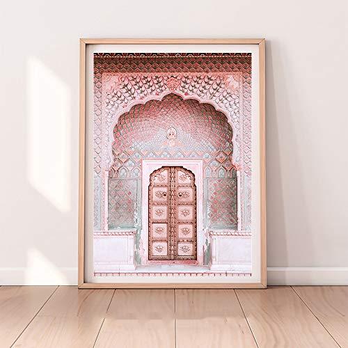 UIOLK Rendimiento Impresión de Arte Fotografía de Viaje Animal Marruecos Puerta Desierto Arte de la Pared Imagen Minimalista Decoración de la Pared del hogar
