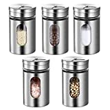 Botella de condimento de acero inoxidable-botella de condimento de cocina-cinco piezas-80ml-botella de condimento giratoria-botella de condimento de sal y pimienta-caja de almacenamiento de especias