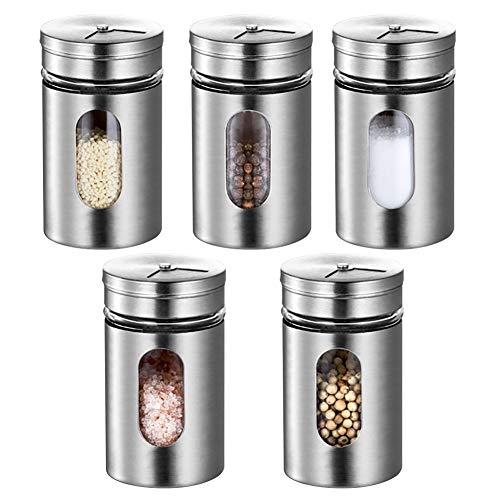 Bottiglia per condimento in acciaio inossidabile-bottiglia per condimento da cucina-cinque pezzi-80ml-bottiglia per condimento girevole-bottiglia per condimento di sale e pepe-contenitore per spezie