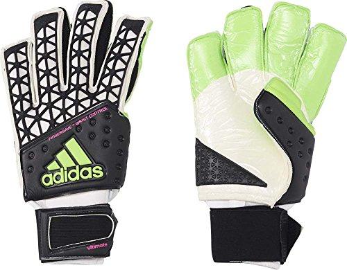 adidas Portero Guantes Ace Ultimate, Todo el año, Hombre, Color Black/White/Solar Green/Shock Pink S16, tamaño 11,5