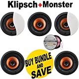 5 Klipsch CDT-3650-C II 6.5' In-Ceiling Speaker + Monster - Platinum XP Clear Jacket MKIII 50' Compact Speaker Cable - Clear/Copper Bundle