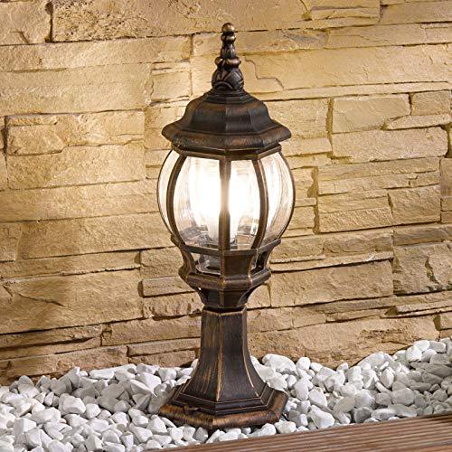 Lampenwelt Außenleuchte \'Nadesha\' dimmbar (spritzwassergeschützt) (Retro, Vintage, Antik) in Gold/Messing (1 flammig, E27, A++) - Wegeleuchte, Pollerleuchte, Wegelampe, Sockelleuchte