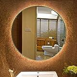 Espejo de baño Redondo sin Marco de 20 Pulgadas de diámetro, Espejo retroiluminado con iluminación contemporánea Moderna, Espejo de Maquillaje montado en la Pared con luz LED sobre tocador