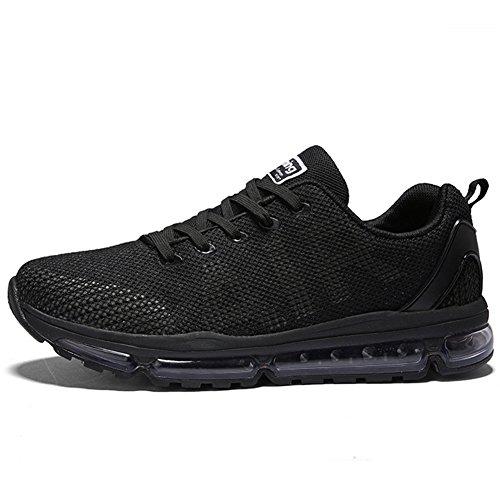 Hombre Mujer Zapatillas de Deportes Zapatos Deportivo Sneakers Running para Correr y Asfalto Aire Libre y Calzado(A61-BK40)