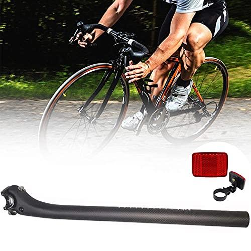 OUUUKL Tija de Sillín de Carbon, Tija de Sillín de Bicicleta de Montaña con Bicicleta Trasera Reflector, Diámetro 25.4mm 27.2mm 30.8mm 31.6 mm para la Mayoría de Bicicletas (Negro)