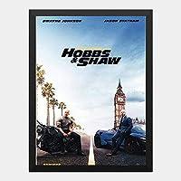 ハンギングペインティング - ワイルドスピード スーパーコンボ ホブスアンドショウ Hobbs & Shawのポスター 黒フォトフレーム、ファッション絵画、壁飾り、家族壁画装飾 サイズ:33x24cm(額縁を送る)