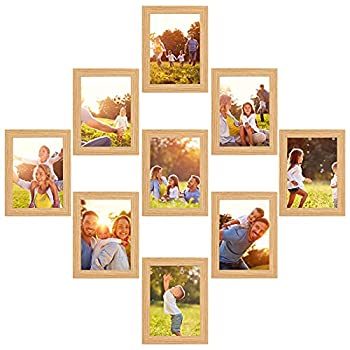 zzjdsl 5x7 picture frame collage set of 9 with Glass Front,Gallery Wall Frame Set,Home&Office Decor Wall Gallery Collage Frames,burlywood