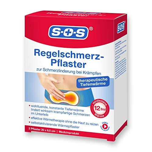 SOS Regelschmerz-Pflaster, angenehme Wärme zur Schmerzlinderung bei Krämpfen, wohltuende und konstante Tiefenwärme bei Schmerzen während der Menstruation, je 20 x 9,5 cm, 1 x 2 Pflaster
