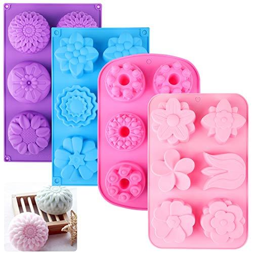 HOWAF 4 Pack Blume Silikonform für Seifen Süss, 3D Silikon Formen Seifenform DIY für Backen Kuchen Schokolade Marzipan Gelee Muffin Süßigkeiten, Spülmaschinenofen Mikrowelle Gefrierschrank Sicher