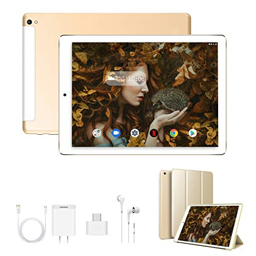 Tablet 10 Zoll FHD+Display 3GB RAM 32GB/128 ROM Erweiterbar Android 9.0 Zertifiziert von Google GMS 4G LTE Tablet PC Quad-Core 8500mAh Dual-SIM Dual-Kamera 8MP Tablets mit WiFi,Bluetooth,GPS(Gold)