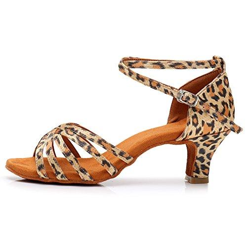 HROYL Zapatillas de Baile de salón de satén Mujer Zapatos de Baile...