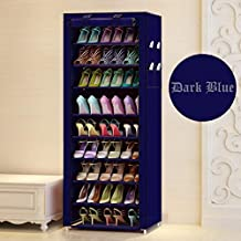ELECTROPRIME Shoe Racks for Home 9 Tiers Multi-Purpose Shoe Storage Organizer Cabinet Tower with Iron and Nonwoven Fabric with Zippered Dustproof Cover (Shoe Racks for Home)
