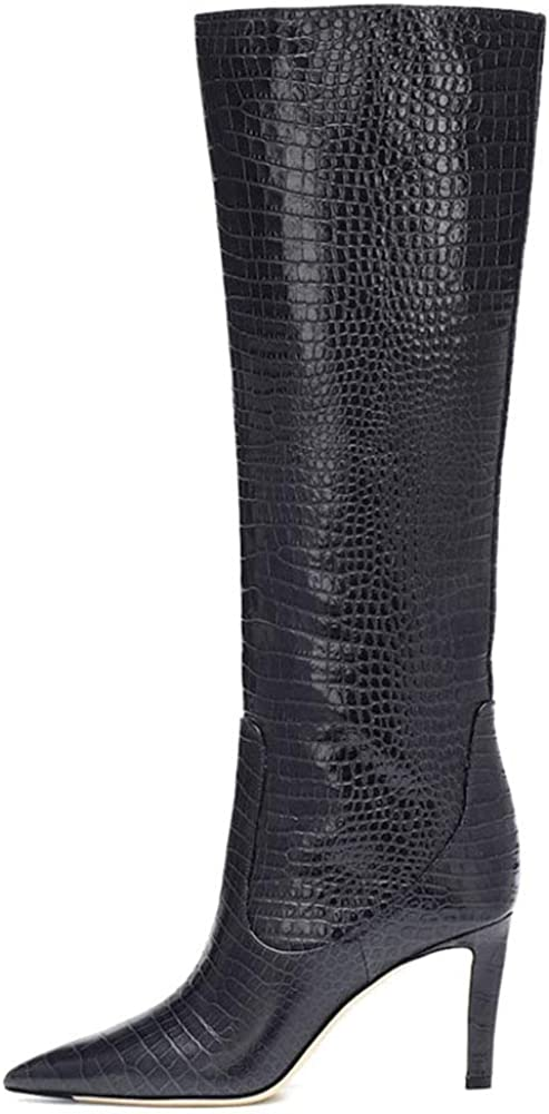 Women's Knee High Boots Stiletto Heel Pointed Toe Mid-Calf Boot Casual Dress Combat Booties Large Size