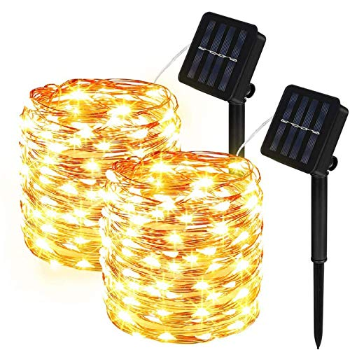 Solar String Lights Outdoor,2-Pack 33FT 100LED Fairy Lights with 8 Modes Decoration Copper Wire Lights Waterproof Indoor Outdoor Lighting for Patio Yard Trees Christmas Wedding Party