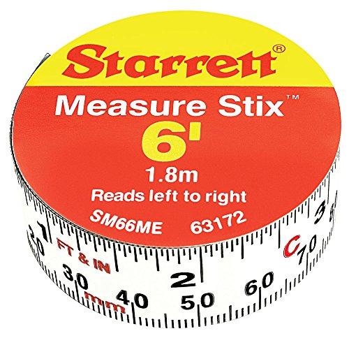 Starrett SM66ME Adhesive Tape Measure, 3/4' Width, 6' Length