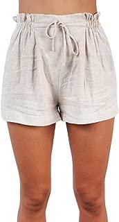Nevera Women's Pants,Ladies Casual Elastic Waist Self Tie Waist Frill Trim Shorts with Pocket