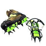 Crampones Correas para Botas De Caminar 14 Dientes Agarres De Nieve Multifunción Antideslizante Pinzas De Hielo para Caminar Senderismo Camping,Green