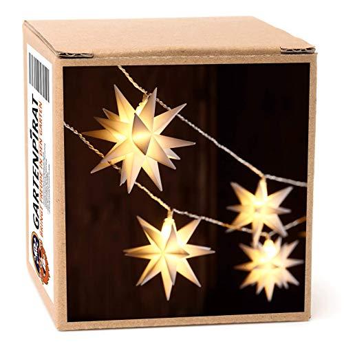 LED Lichterkette Weihnachten mit 18 weißen Sternen • 8,5 m • mit Timer, für außen, outdoor