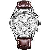 BUREIメンズファッションマルチファンクションクォーツ腕時計カジュアルビジネス紳士腕時計 メンズバースデーギフト銀-白