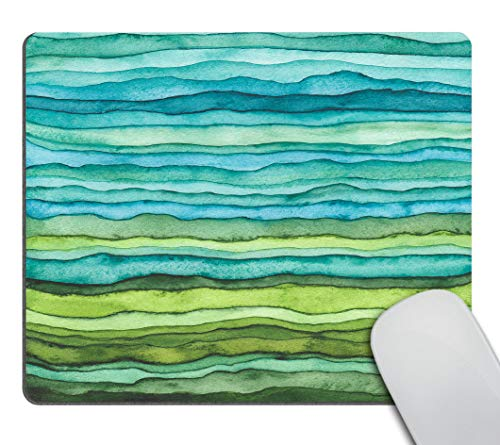 Smooffly Mouse pad Bright Blue and Green Waves,Watercolor Wavy Texture Design Mousepad Non-Slip Rubber Gaming Mouse Pad Rectangle Mouse Pads for Computers Laptop
